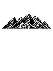 schwarz alpen berge hügel wandern urlaug ferien radtour hoch oben klettern aufsteigen besteigen erklimmen berg clipart design kalt schnee snowboard ski fahren