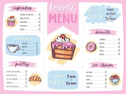 Menu dessert vector cafe design sweet food template chocolate cupcake and ice cream on restaurant poster illustration set of muffin doughnut on cafe banner isolated on white background