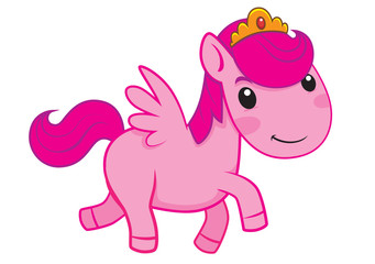 cartoon little pony princess with white background