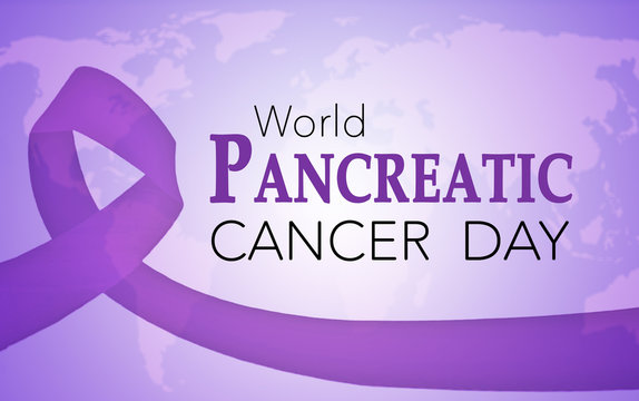 World pancreatic cancer day, background with purple awareness ribbon