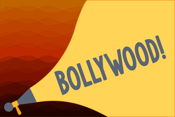 Text sign showing Bollywood. Conceptual photo Indian popular film movies industry Mumbai Cinematography.
