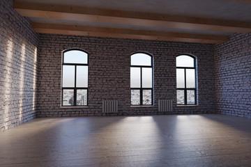 3d rendering of empty studio loft with white bricks