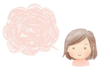 女の子 笑顔 フキダシ 水彩