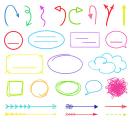 Multicolored infographic elements isolated on white. Set of different indicator signs. Hand drawn simple objects. Right and left direction pointers. Abstract circles, arrows and rectangles