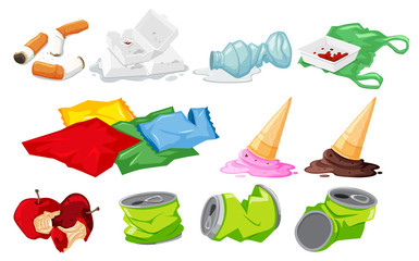 Set of waste on white background
