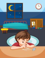 A boy snort cocaine in bedroom