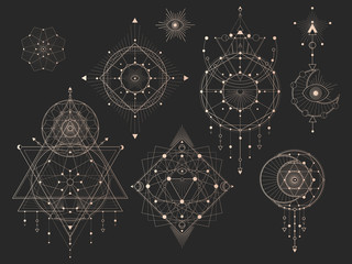 Vector set of Sacred geometric symbols with moon, eye, arrows, dreamcatcher and figures on black background. Gold abstract mystic signs collection drawn in lines. For you design. Wall mural