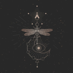 Vector illustration with hand drawn dragonfly and Sacred geometric symbol on black vintage background. Abstract mystic sign. Gold linear shape. For you design.