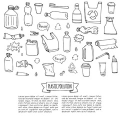 Hand drawn doodle Stop plastic pollution icons set Vector illustration sketchy symbols collection Cartoon concept elements Bag Bottle Recycle sign Package Disposal waste Contamination disposable dish
