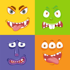 Different monster face expression