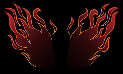 Stylized and minimalist fire wings vector illustration in cartoon line art with gradient fill and dark background