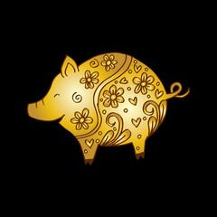 Decorative pig illustration.