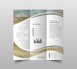 Vector collection of tri-fold brochure design templates with modern polygonal background on white