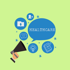 Word writing text Healthcare. Business concept for The provision of medical care to individuals Improve wellbeing.
