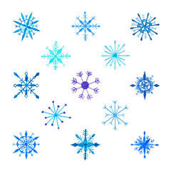 Set of Various Blue And Turquoise Hand Drawn Watercolor Snowflakes. Isolated on White Background