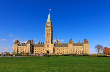 Parliament Hill, Ottawa, Canada, the center block and the Peace Tower. A view of the front facade of Canadian parliament tower.