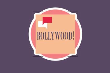 Conceptual hand writing showing Bollywood. Business photo text Indian popular film movies industry Mumbai Cinematography.