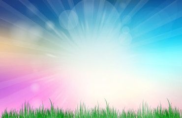 Abstract Blue and pink blurred gradient background. Nature blurred bokeh background with sunlight and grass.
