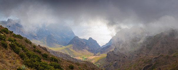 Incredible panorama of the mountain coast on the island of Tenerife. Canary Islands..Spain