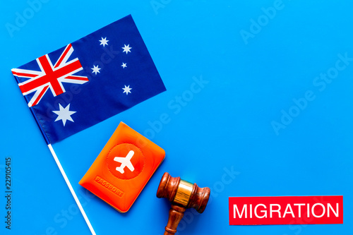 Immigration to Australia concept  Text immigration near