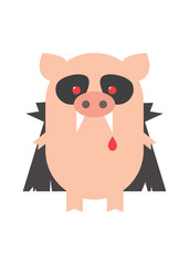 Pig Dracula. Pig in the costume of Dracula, Halloween. Cartoon, vector