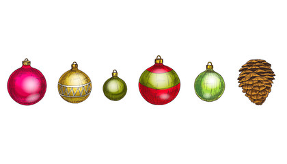 Merry Christmas and Happy New Year vector set. Cone and multicolored glass balls Isolated on white background. Winter hollidays collection.