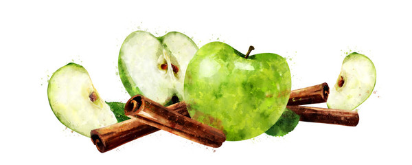 Watercolor cinnamon and green apples on white background