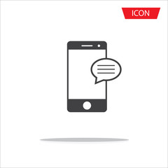 Mobile Message Icon vector, Mobile chat icon isolated on white background.
