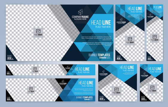 Blue and Black Web banners templates, standard sizes with space for photo, modern design