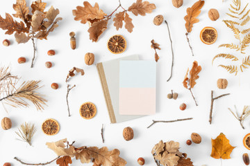 Top view dried leaves blank card white background Autumn fall flat lay