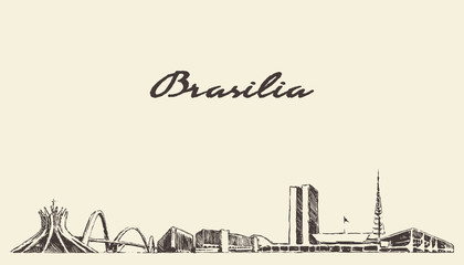 Wall Mural - Brasilia skyline, Brazil vector city drawn sketch
