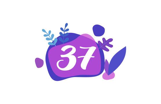 37 Years Anniversary Modern purple Blue Flat Design