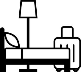 ホテルのアイコン、ベッドとスーツケース
