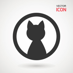 Cat icon. Silhouette of cat vector icon. Pet illustration.
