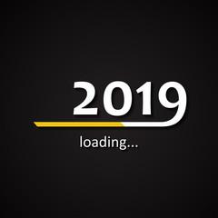 Loading 2019 inscription bar - flat design template, yellow edition