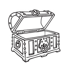 Empty pirate treasure chest. Open wooden trunk. Sketch style hand drawn isolated vector illustration.