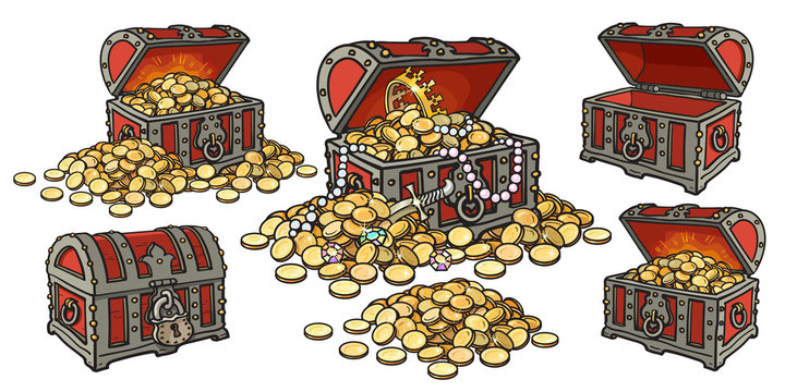 Cartoon set of pirate treasure chests open and closed, empty and full of gold coins and jewelry. Pile of golden money. Hand drawn vector illustration.