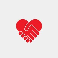 Handshake flat vector icon. Friendship flat vector icon. Heart flat vector icon