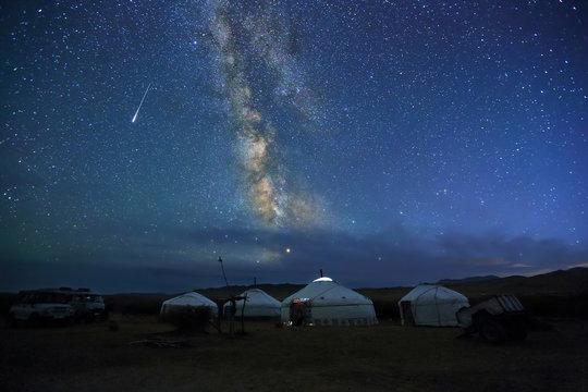 Night scene of the Milky Way over Mongolian yurts,Western Mongolia