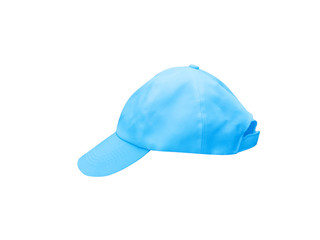 Light blue baseball cap isolated on white background with clipping path