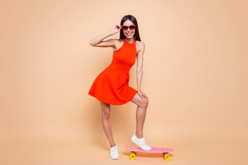 Let's ride Summer vibes Full length body size photo portrait o
