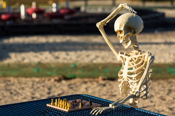 Skeleton scratches head trying to figure out next chess move