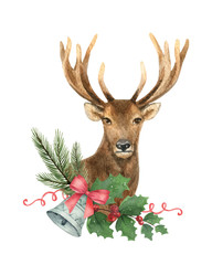 Watercolor vector greeting card with Christmas deer, spruce branches and bell.