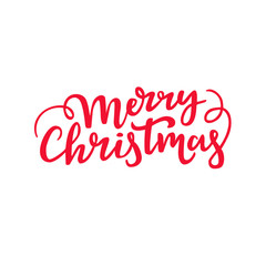 Merry Christmas handwritten lettering. Decorative cursive script design. Holiday typography.
