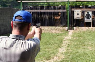 Shooter at shooting range