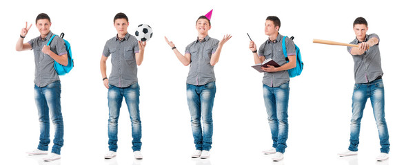 Collage of teen boy with schoolbag and books. Set of  full length portrait happy young man student. Teenager back to school, isolated on white background.