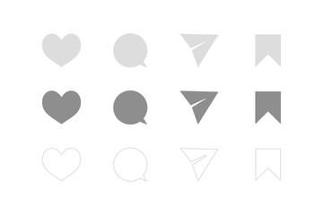 ハート、ふきだし(コメント)、メッセージ送信(紙ヒコーキ)、ブックマーク。シンプルアイコン4種セット。UI/デザイン素材