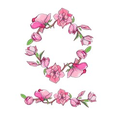 Magnolia flower set with wreath. Vector hand drawn