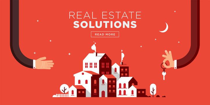 Real Estate Web Header Flat Design