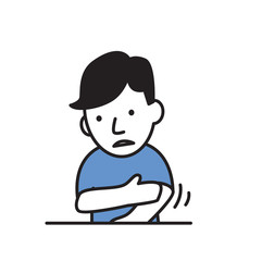 Sick boy rubbing his hand, sickness. Cartoon design icon. Flat vector illustration. Isolated on white background.